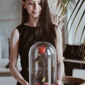 Wieczne róże pod szklanym kloszem